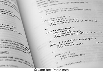 Programming textbook page with small source code script...