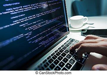 Programming Works - Programming Work Time. Programmer Typing...