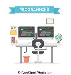 programozás, munka, place.