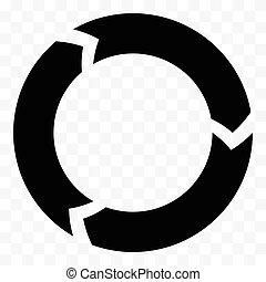 progres, gesegmenteerde, proces, arrow., icon.,...