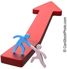 progreso, amigo, ayuda, flecha, mano
