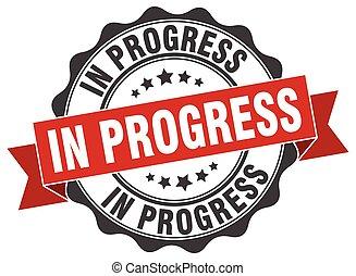 progreso, signo., sello, stamp.
