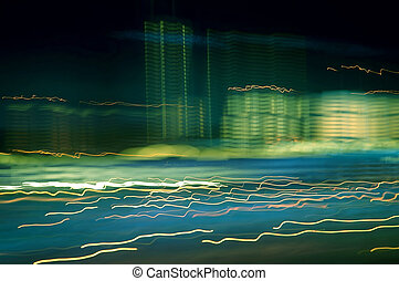 Abstract photo of progressive development with buildings and lights in motion