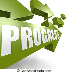 Progress arrow green - Hi-res original rendered computer...