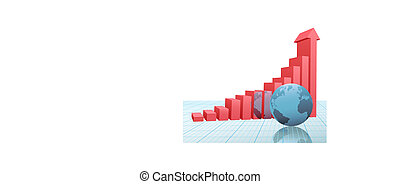 Progress bar chart up arrow earth on graph paper