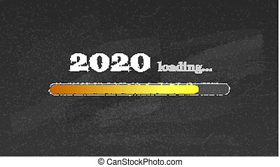 Progress bar counting down for New 2020 year s eve. Handwritten lettering of chalk on blackboard in doodle style. Loading bar on school chalkboard. Counting of time reaching a New Year.
