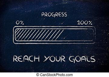 progress bar metaphor, speed up your progress - concept of ...