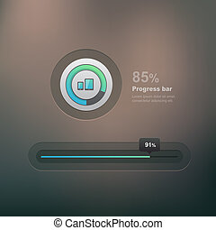Progress bar - Vector ui element, progress bar on dark...
