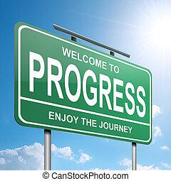 Progress concept. - Illustration depicting a green roadsign...