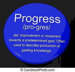 Progress Definition Button Shows Achievement Growth And Development