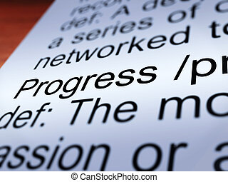 Progress Definition Closeup Showing  Development