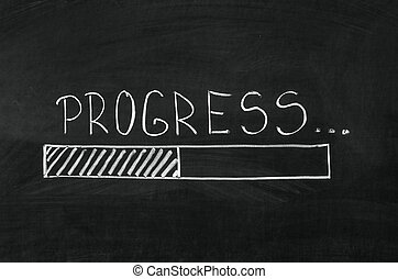 Progress handwritten with white chalk on a blackboard and drawing download bar
