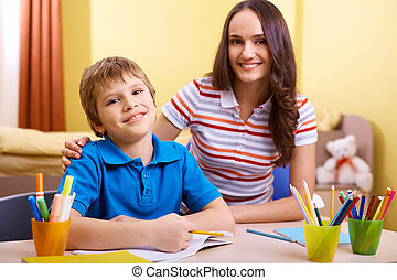 Progress in school - Portrait of cute schoolboy and his...