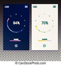 Progress of load for mobile apps, web preloader on transparent background. Load, update or download diagram icon of progress bar, minimal flat design with percentage of progress, 3D illustration