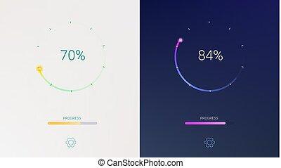 Progress of loading for mobile apps or web preloader on light and dark background. Radial load, update or download diagram icon of progress bar, minimal flat design with percentage of progress