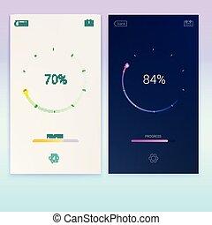 Progress of loading for mobile apps or web preloader on light and dark screen. Load, update or download diagram icon of progress bar, minimal flat design with percentage of progress, 3D illustration