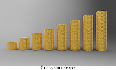 Progress or success: golden coins stacks