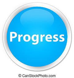 Progress premium cyan blue round button