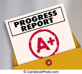 Progress Report A Plus Great Effort Grade 3d Illustration