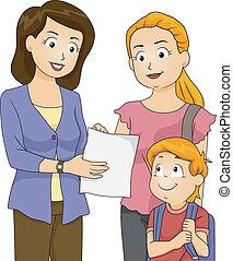 Progress Report - Illustration of a Teacher Showing Her...