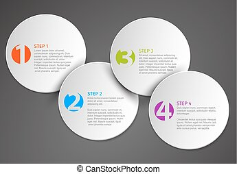 Progress schema template with four circle steps