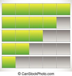 Progress, step, phase indicators. Simple 5-step progress bars.