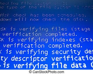 Progress.. - text on blue screen