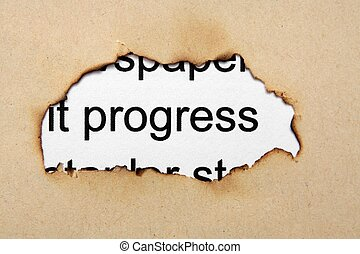 Progress text on paper hole