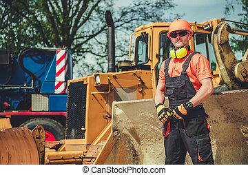 progress., travail, contremaître, site construction, surveiller
