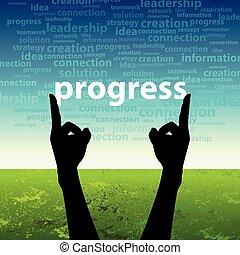 progress word in hand