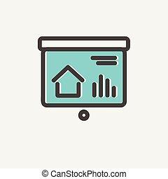 Progression bar on presentation screen thin line icon