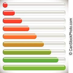 progression., carga, horizontal, fases, barras., progreso, pasos