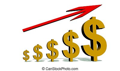Progression to Success symbolized by growing dollars under a red arrow