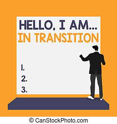 progressione, uomo, transition., cose, foto, vestito, indietro, concettuale, giovane, ciao, completo, segno, piattaforma, vuoto, esposizione, pianificazione, mutevole, rectangle., testo, prospiciente, vista, standing, nuovo, processo