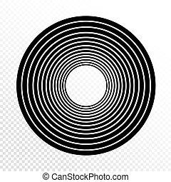 progressivo, weight., elemento, experiência., vetorial, desenho, circles., concêntrico, linha, transparente