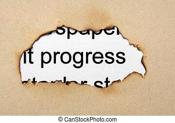 progresso, buco, carta, testo