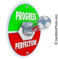 progresso, o, perfezione, tasto bistabile, scegliere,...