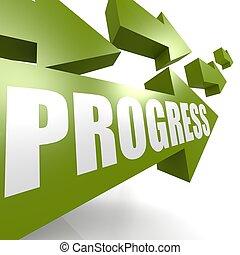 progresso, seta, verde