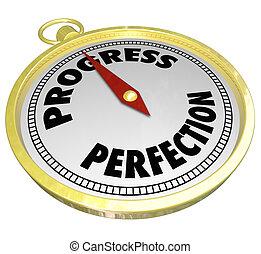 progresso, vs, perfezione, oro, punto bussola, a,...