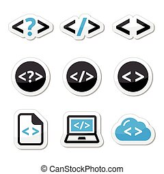 Progrmming code vector icons set - Webste code black and...