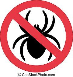 prohibición, no, arañas, señal