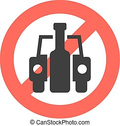 prohibición, señal, no, bebida, conducción