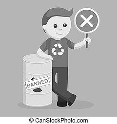 prohibido, ambiental, activista, desecho tóxico, hombre
