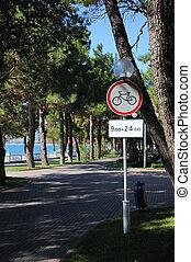 prohibido, bicicleta, señal