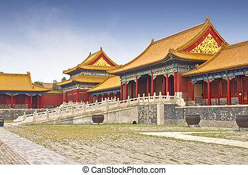 prohibido, china, beijing, ciudad, vista