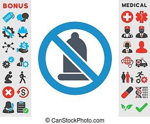 prohibido, condón, icono