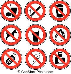 prohibido, conjunto, icono, señales
