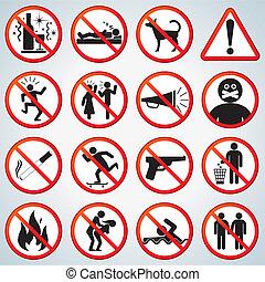 prohibido, conjunto, iconos
