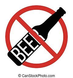 prohibido, signo., parada, alcohol, no