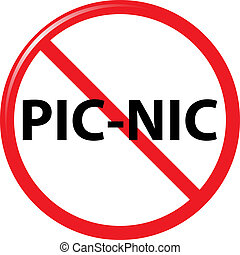 prohibit picnic sign vector